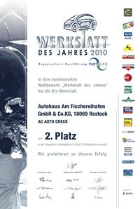 Werkstatt des Jahres Urkunde 2010